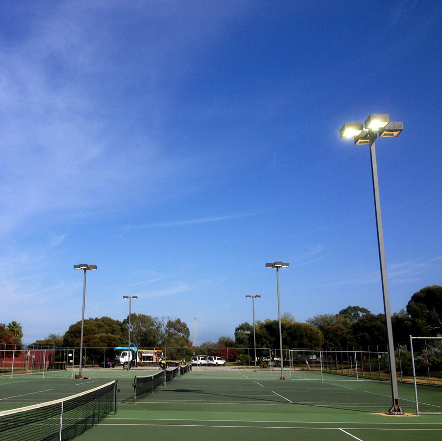 Sporting Tennis and Netball Courts Lighting design and installation, Perth WA
