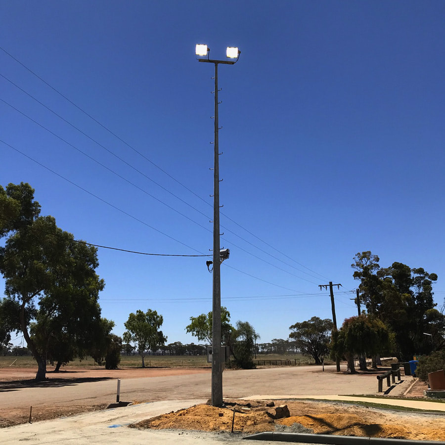 Sports grounds and courts lighting contractor Perth WA Light Pole Installation